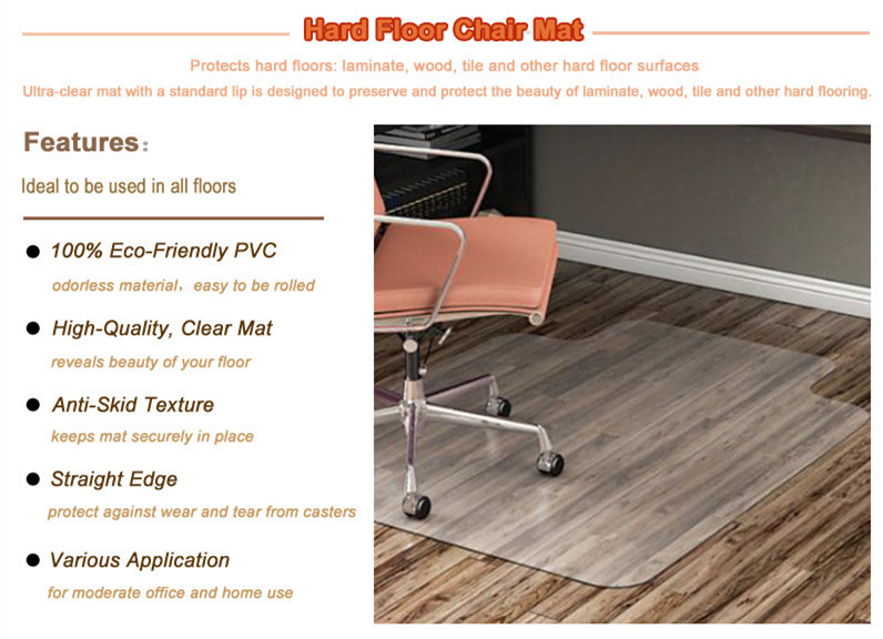 For Hard Floor and Carpet Tiles Office PVC Chair Mat