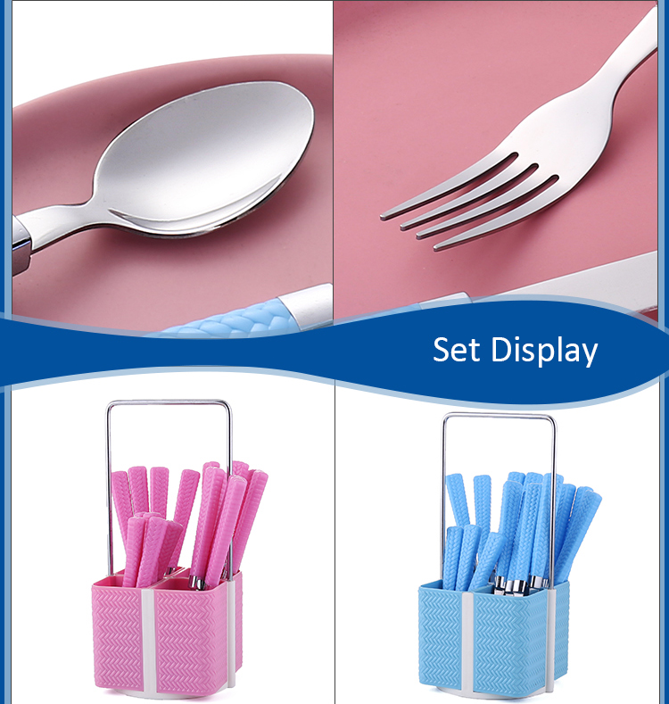 Knit PP Plastic Mirror Polish Stainless Steel Dinner Sets for Picnic Cutlery