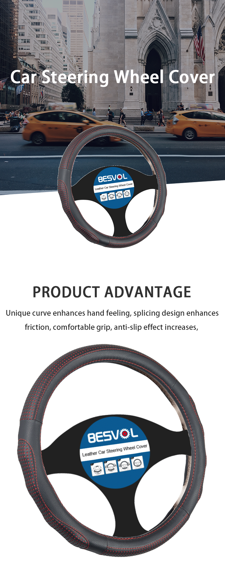 FX-P-180930 newly Fashion sport Genuine steering wheel cover