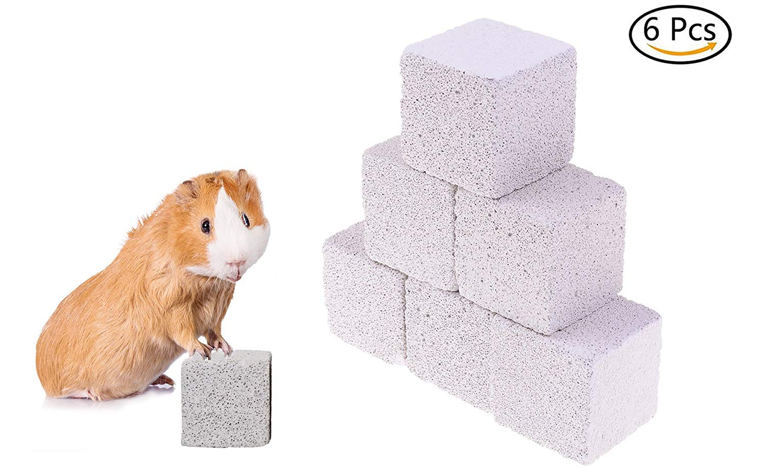 buytra Chew Toys for Rodents, Natural Lava Rock Teeth Grinding Stone Block for Chinchilla, Guinea Pig, Hamster, Rabbit, Set of 6