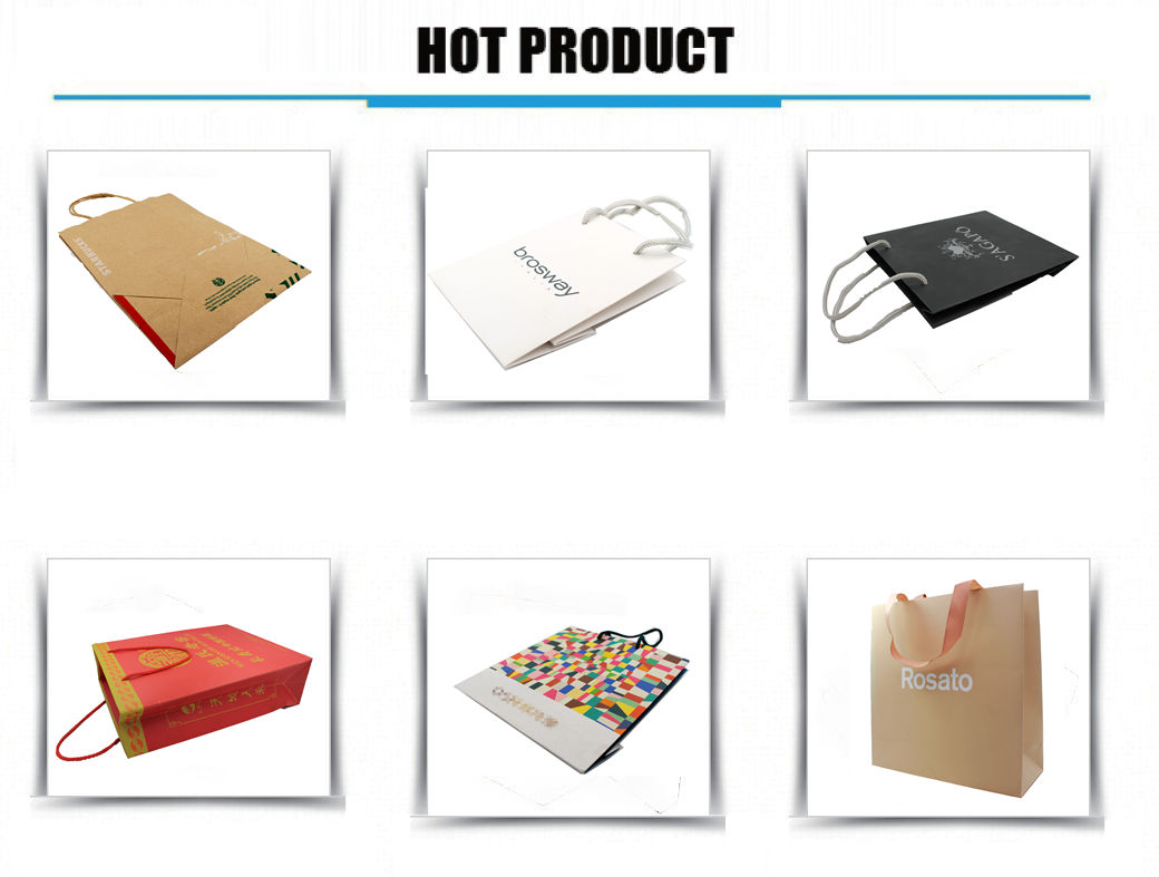 JiaYuan Customized  Shopping Paper Bag with Logo Ribbon