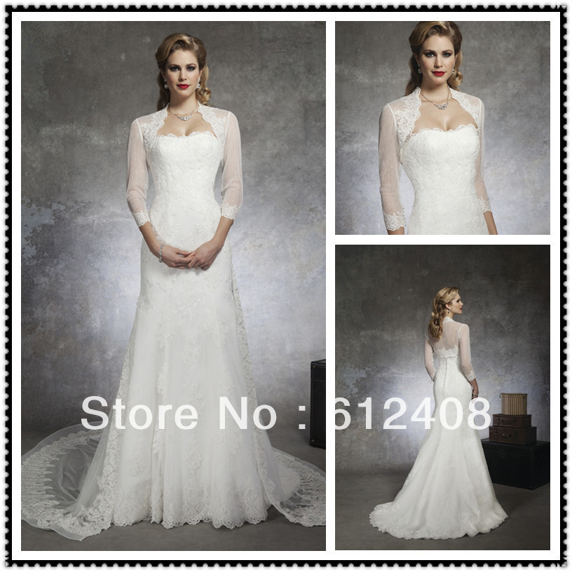 LA10027 Strapless With Jacket Sheath Floor Length Chapel