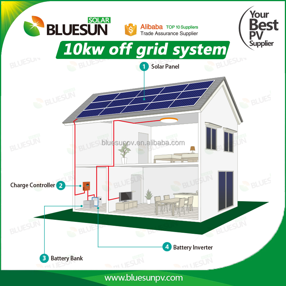 high efficiency 10kw home use off grid solar system stand alone 10kva system