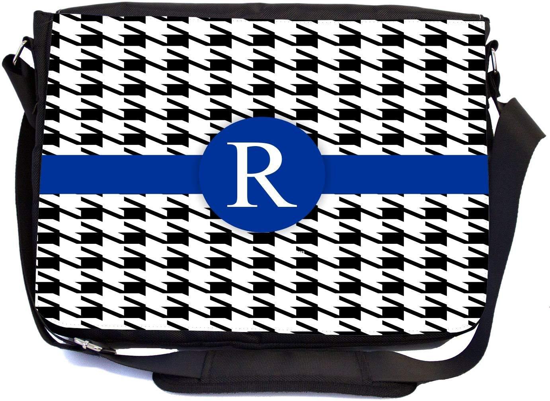 "Rikki Knight Letter ""R"" Blue Houndstooth Monogram Design, Messenger School Bag (mbcp-cond46368)"