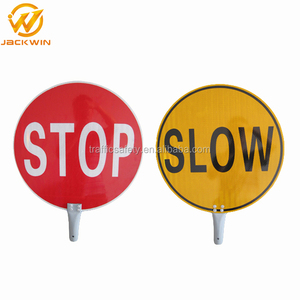 Outdoor Waterproof Custom Reflective Safety Stop/Slow Paddle Signs in Construction