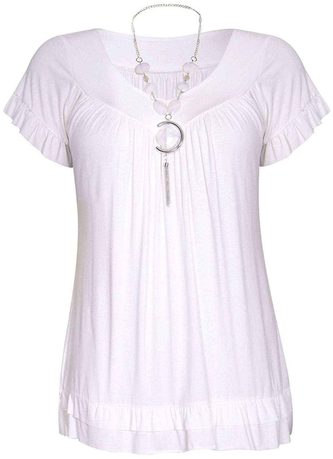 44f1a770df Get Quotations · Chocolate Pickle ® New Ladies Short Sleeve White Necklace Gypsy  Tops