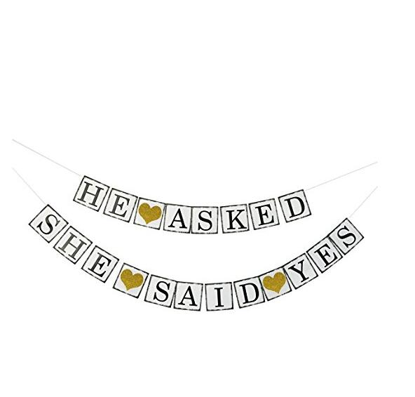 Wedding He Asked She Said Yes Banner Gold Glitter - Engagement Bridal Shower Party Decorations