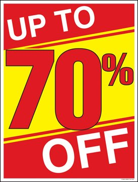 "Up to 70 Percent Off (%) Sale Window Sale Sign Posters Retail Business Store Signs (P40 - 25"" x 33"")"