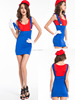 wholesale/retail Women Adult Super Plumber Bros 80s Video Game Fancy Dress Workwoman Costume Hen