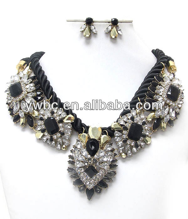 Wholesale fashion jewelry Luxury line multi crystal deco flower and rope chain necklace earring set(A120931)