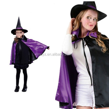 l2437a kids halloween christmas party cloak with hat reversible witch capes costume