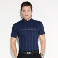 mans regular fit short sleeve navy stripe unique dress Shirts
