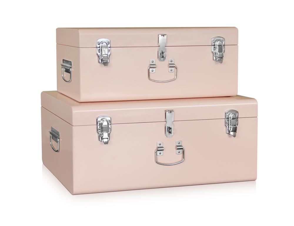 Set 2 Beautiful Vintage Large Metal Storage Trunk Chest Locked Trunk Boxes