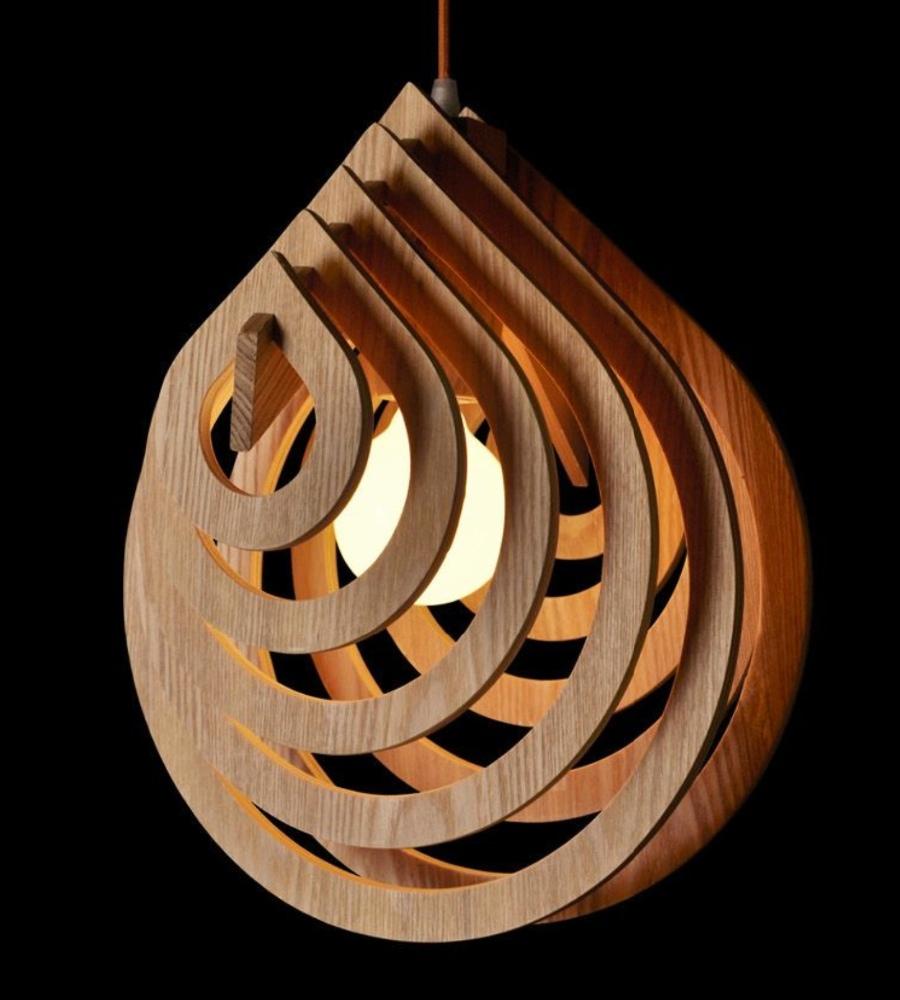 Nordic creatieve korte houten hanger lampen water druppelvorm ...