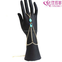 Hand Chains India Hand Finger Chain Fashion Turquoise Slave Bracelet Jewelry HC-625A04