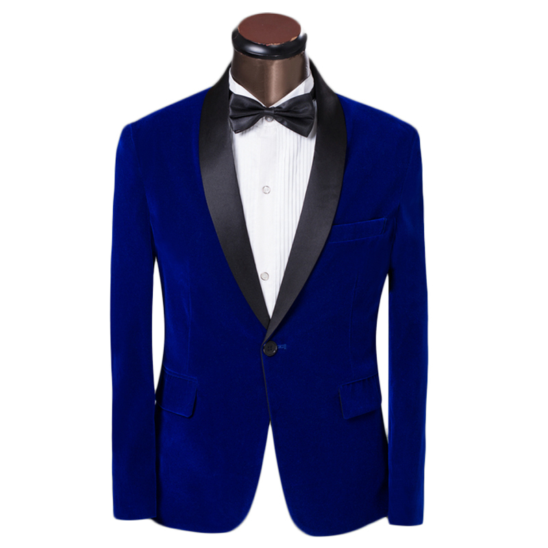 2015 New Arrival Men's Tuxedo Suits Elagant Prom Groom Dress Suits Slim Fit Blue Round Collar Velvet Suits with Pants Custom 6XL