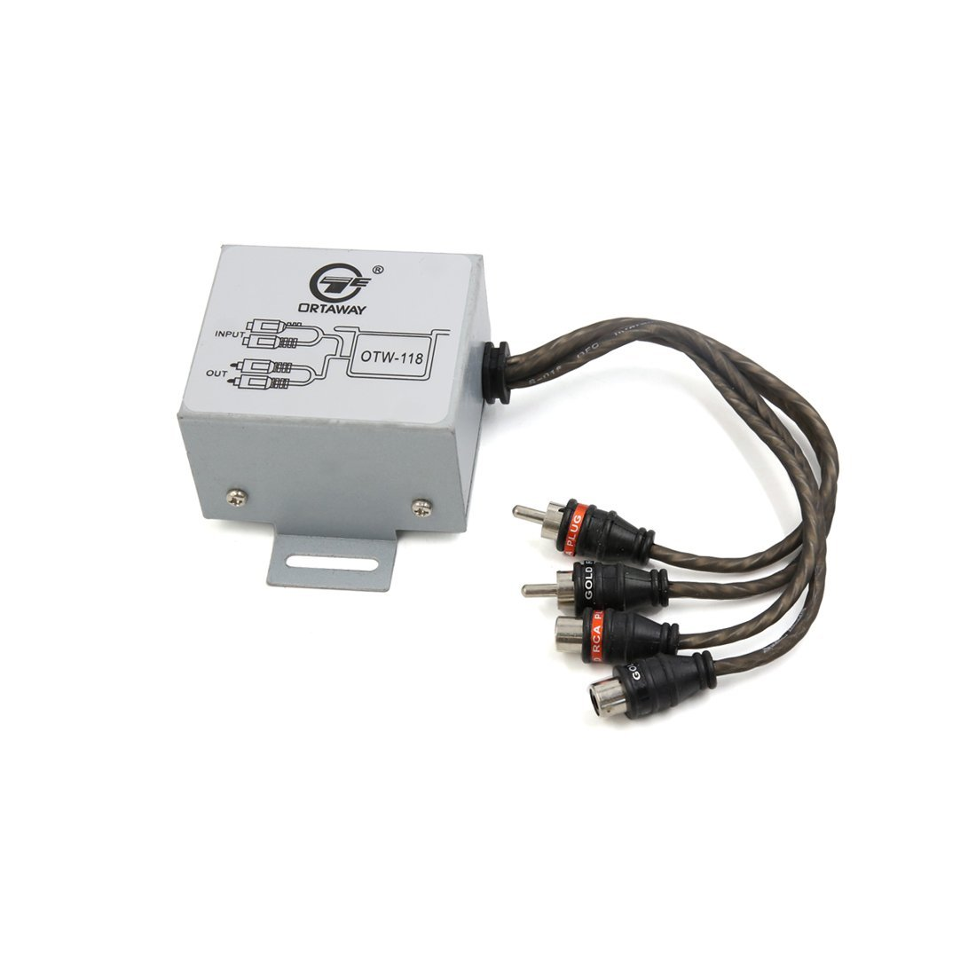 uxcell Car Silver Tone 2 Input to Output Male Female RCA Noise Filter