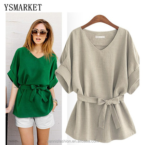 Summer Women Blouses Linen Tunic Shirt V Neck Big Bow Batwing Tie Loose Ladies Blouse Female Top For Tops 5XL