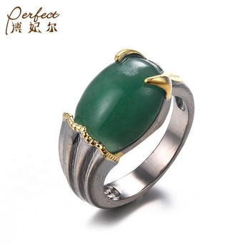 PERFECT Wholesale Designs 925 Sterling Silver Gold Plated Aventurine Handmade Ring