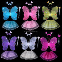 Factory supply 2017 New Wholesale Sequin Double layer fairy butterfly Wings with tutu