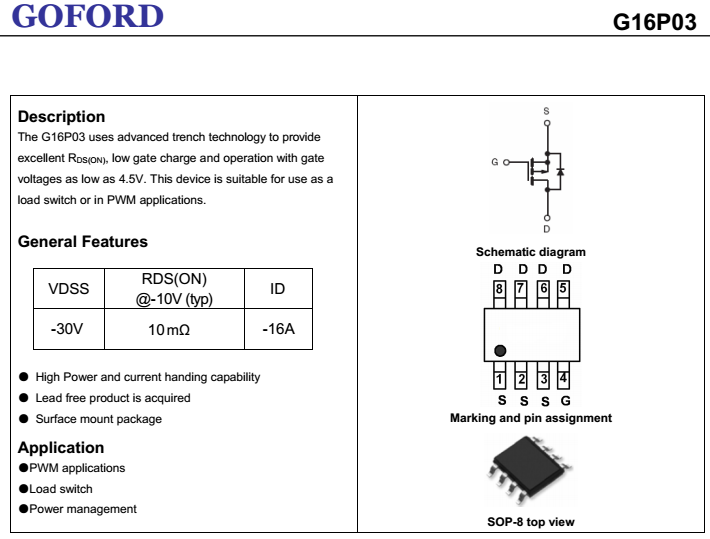 G16p03 P-channel Single Trench Mosfet For Power Conversion And Switching  Circuits - Buy Single Trench Mosfet,P-ch Mosfets,Power Conversion And