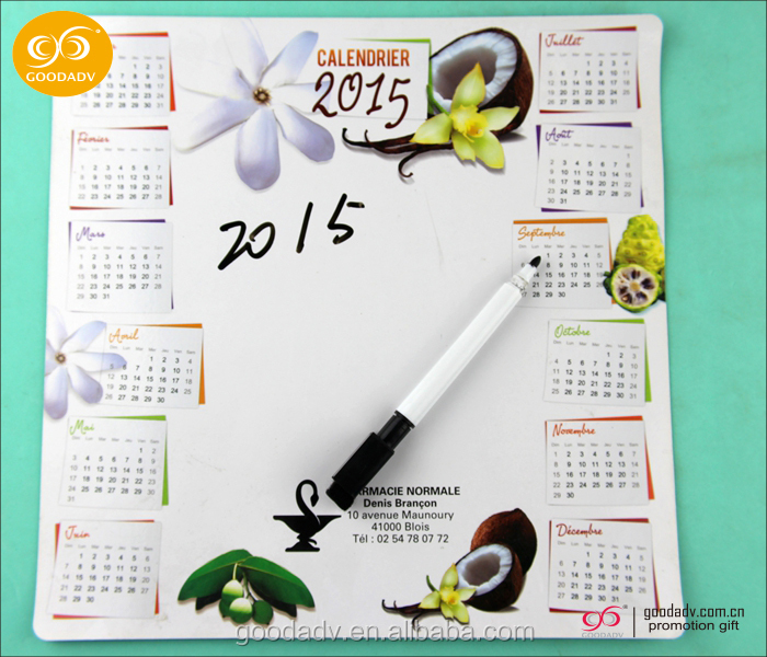 Hot-selling customized design promotion gift printed calendar dry erase board