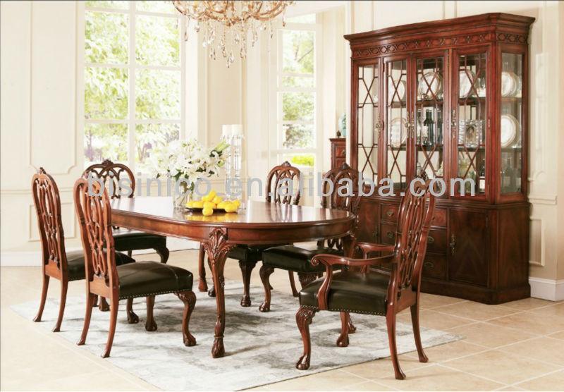 malasia Conjunto Comedor Maciza Buy Abedul Y Elegante Noble W estilo Europeo Muebles Elíptica Silla Mesa De Comedor Madera HWD2IYE9