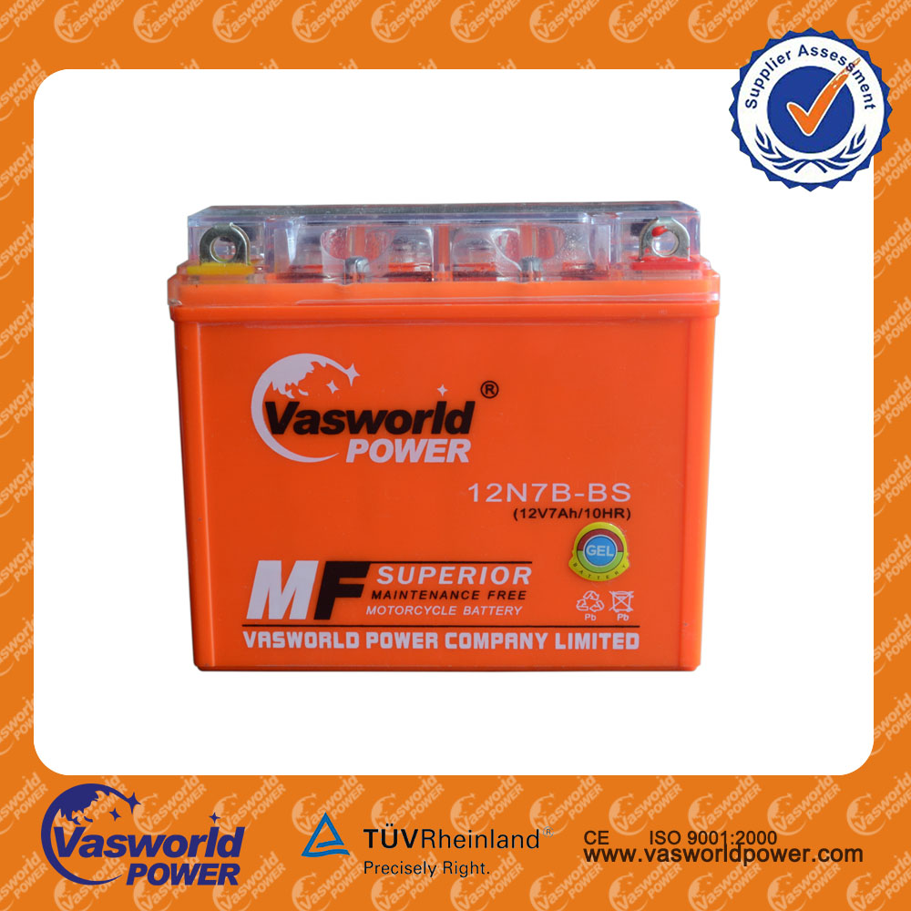 Chinese manufactory sell directly price of lead acid mf YB7 12volt7ah rechargeable motorcycle battery for Malaysia market