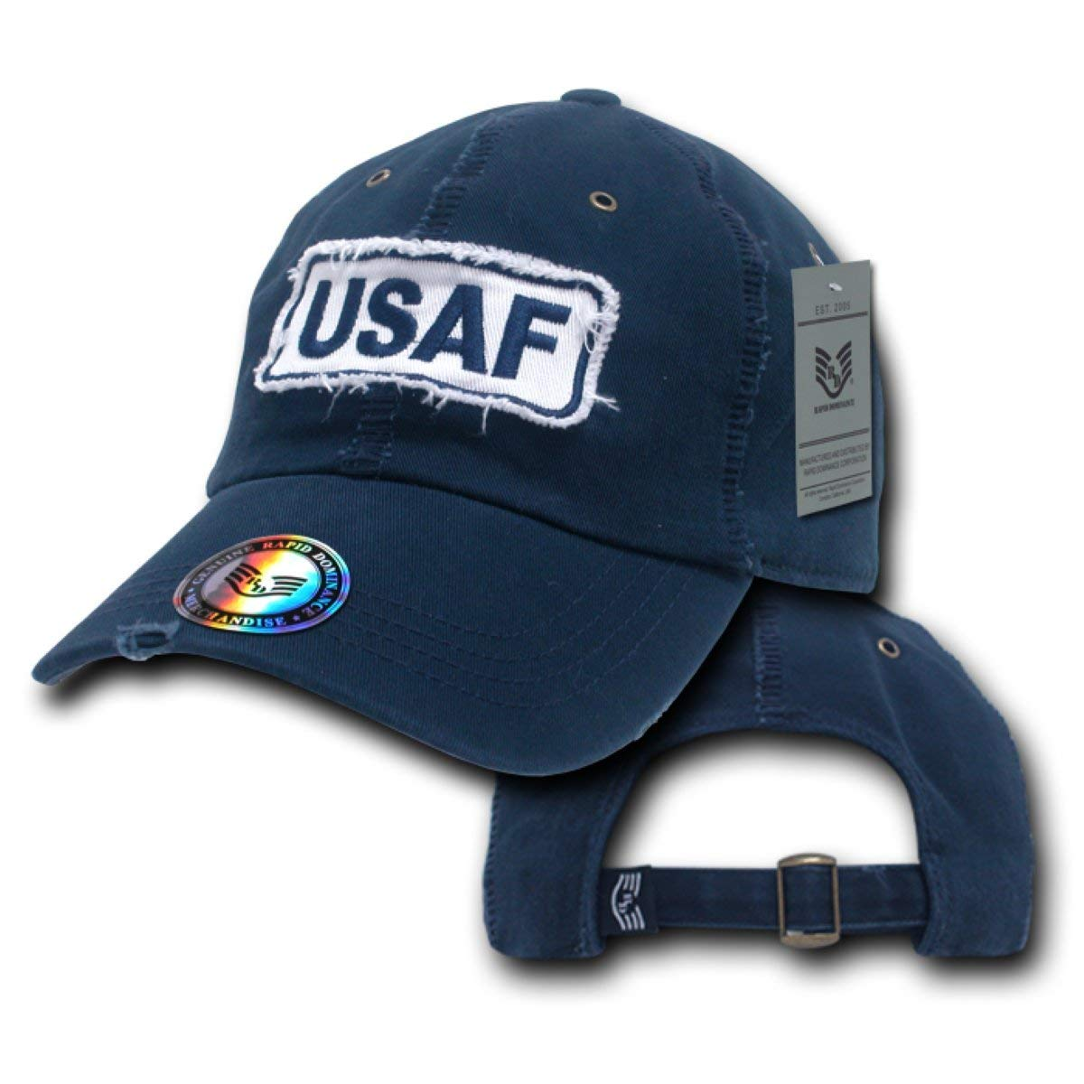 c398cfe089e Get Quotations · Rapid Dominance Military Polo Brass Buckle Giant Stitch Cap  USAF