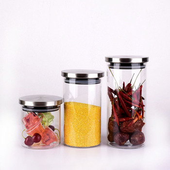 wholesale packing use borosilicate recycled storage glass candy jars