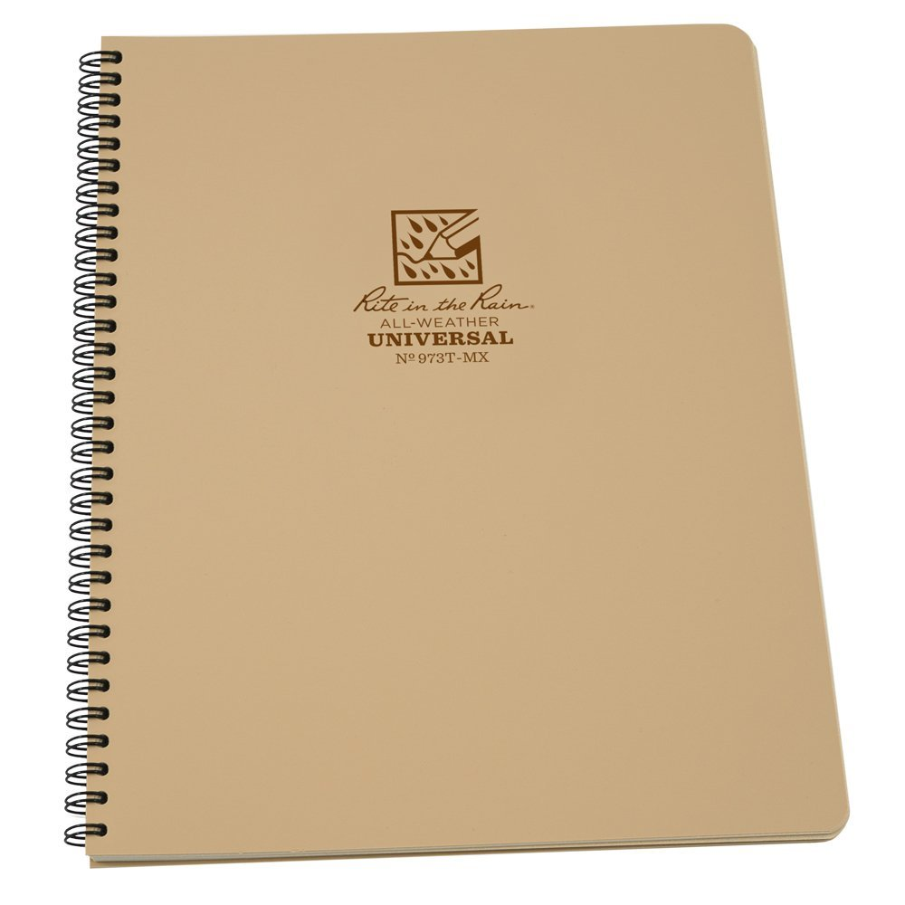 "Rite in the Rain All-Weather Side-Spiral Notebook, 8 1/2"" x 11"", Tan Cover, Universal Page Pattern (No. 973T-MX)"