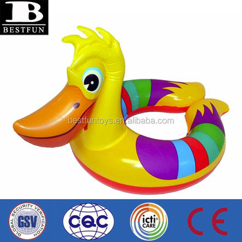 Promotional customized inflatable pelican swim ring baby animal shape swim ring