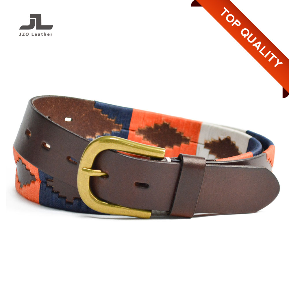 Custom Colorful Handmade Famous Brand Genuine Leather Luxury Polo Belt