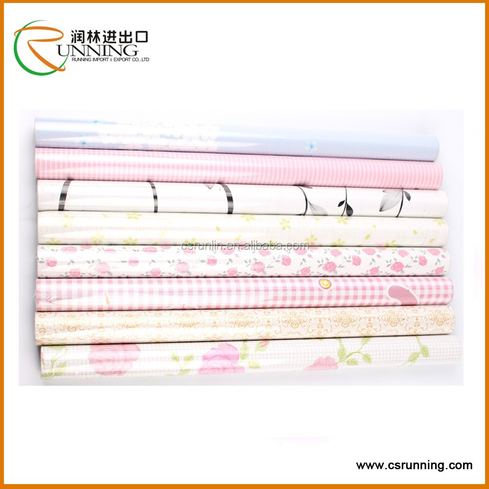 wall paper PVC printed self adhesive foil for Furniture Self Adhesive Shelf Liner Decorative Contact Paper