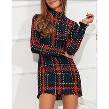 <span class=keywords><strong>Elegante</strong></span> Plaid Tweed <span class=keywords><strong>Frauen</strong></span> Kleid Winter Büro <span class=keywords><strong>Dame</strong></span> Langarm Weihnachten kleid
