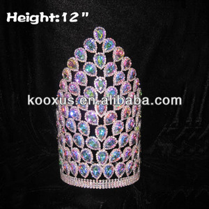 12 inch Big AB Diamond Luxury Pageant Crowns
