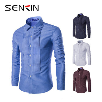 Stylish Mens Dress Shirts Long Sleeve Pleated Slim Fit Spot Printing Shirt Men Tops casual button down