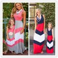 Summer mother daughter dresses stripe cotton mother and daughter clothes family look fashion mother daughter dresses