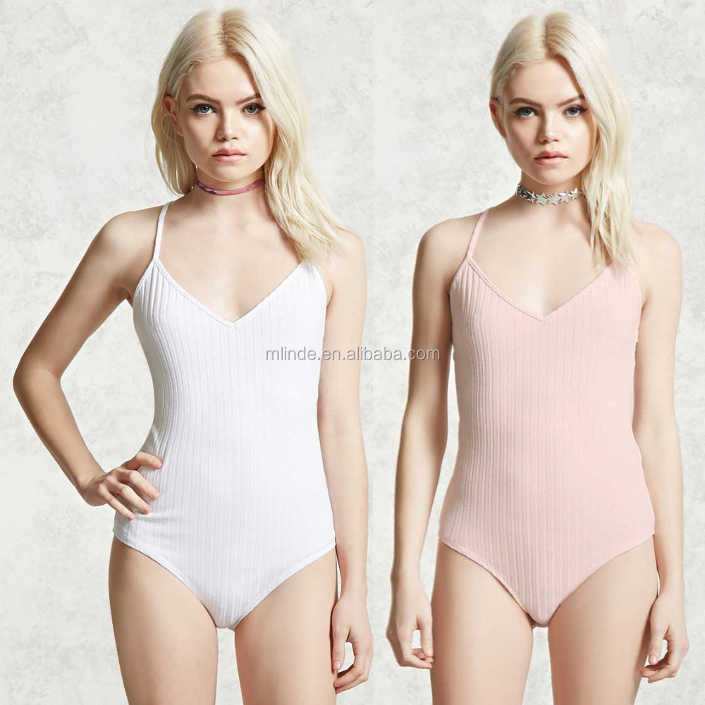f542aa6f5de39a Romper Set Strapless Leotard one piece swimsuit women Ribbed Crisscross  Bodysuit V Neck