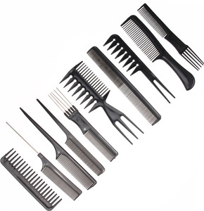cheap 10 pieces set professional salon barber convenient hair comb