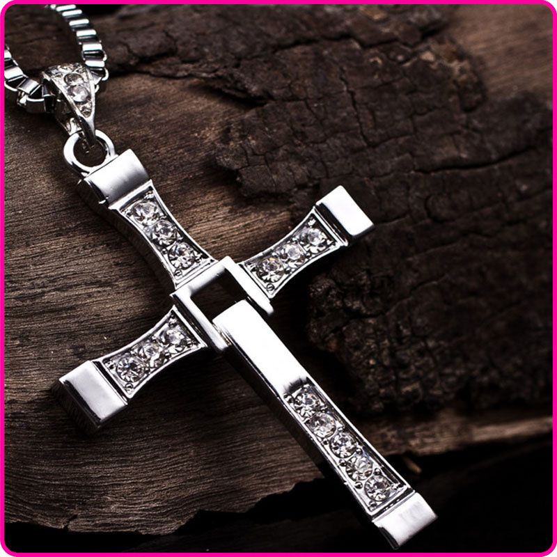 Vin Diesel Cross Necklace: 50pcs Men Fast And Furious Rhinestone Silver Cross Dominic