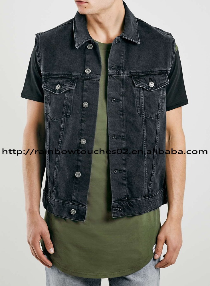 OEM custom mens Washed Black sleeveless denim jacket
