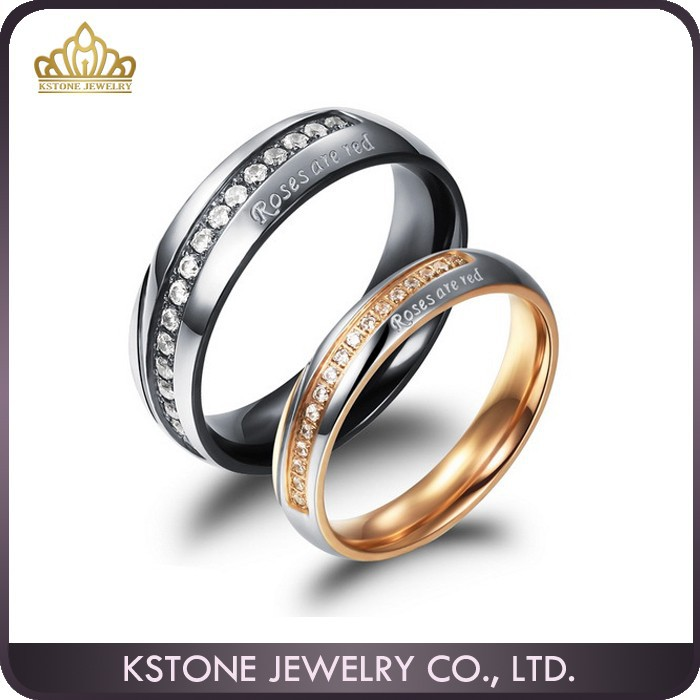 KSTONE Modern personalized design jewelry two tone Titanium Steel Couple Rings rose are red matching bands