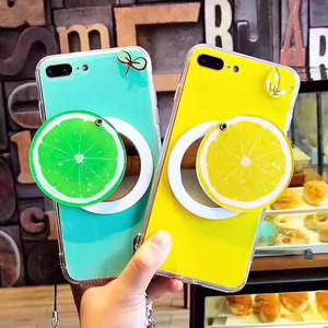 2017 hot Summer Fruit Strawberry mirror case phone strap for iPhone 7 case 6 plus soft Silicon watermelon lemon phone cover