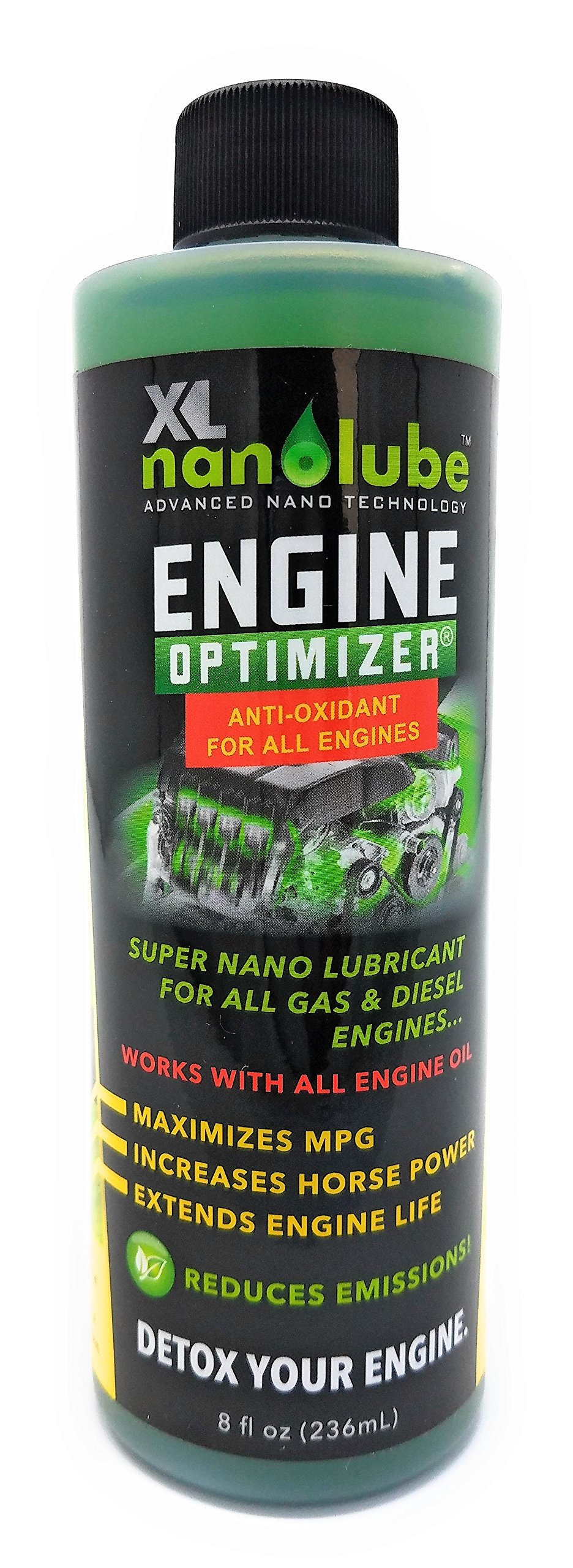 XL Nanolube Engine Oil Additive & Nano Treatment; Stops Oil Burning & Engine Smoke; Works w/Synthetic & All Oil; Great for Diesel & Gas Engine, Great for Light & Heavy Duty 8oz [10% off w/2 or more]