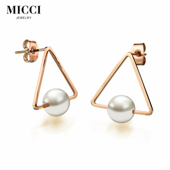 Whole Custom Champaign Gold Jewelry Fashion Women S Fake Pearl Stud Earrings