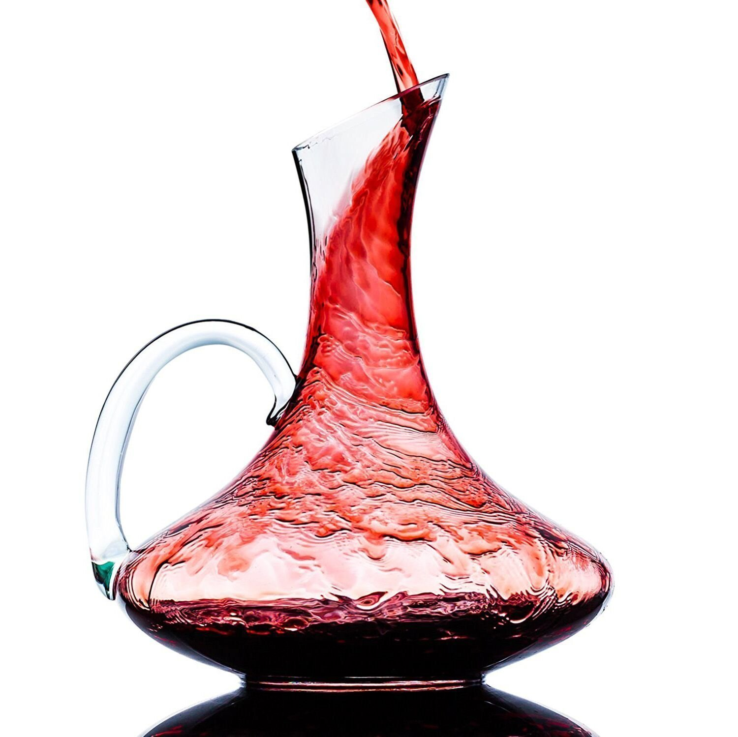 Wine Decanter, Crystal Glass Wine Carafe with Handle, 100% Hand Blown Lead-free, Wine Gift, Wine Accessories