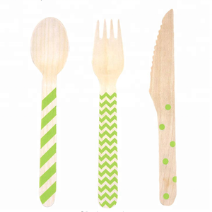 Wooden bamboo tableware set cutlery of spoon fork knife paper plastic cocktail straws disposable sushi boat