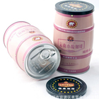 barrel shape cylinder coffee can tin box with plastic lid packing coffee