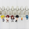 Fairy Tail keychain Figure Model and Retail 6 pcs set Natsu Happy Lucy Gray Elza Fairy